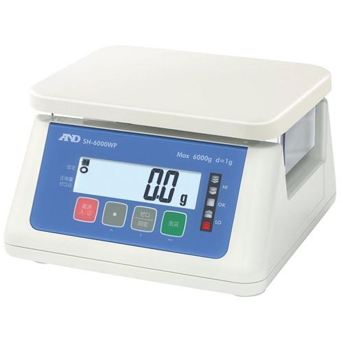 ☆ 計測 ☆A&D 防塵防水デジタルはかり SH6000WP 6000g(最小1g) [ 265 x 250 x H145mm ] 【 飲食店 レストラン ホテル 厨房 業務用 】