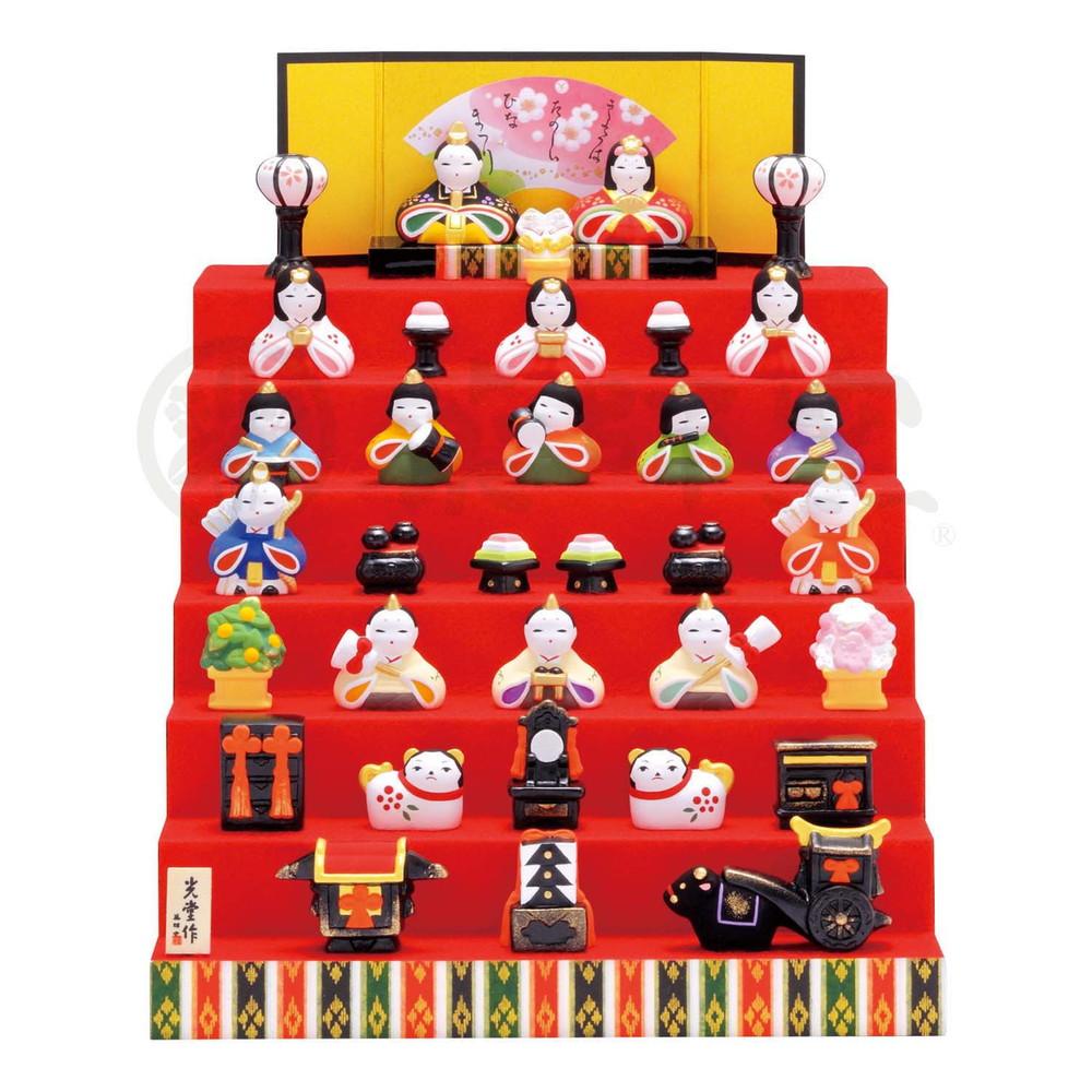 雛人形 錦彩花かざり雛(七段飾り) [高さ 男 3.5cm x 女 3cm] | ひな人形 雛祭 ひな祭り 陶器 置き物 お雛様 節句 おひな様 お内裏様 かわいい おしゃれ 玄関飾り プレゼント ギフト 出産祝い 結婚祝い 縁起物 引き出物