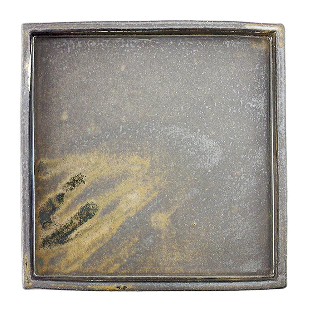 手造黒釉 角鉢 [ 24 x 24 x H3.5cm 1700g ] 【 角大皿 】 【 飲食店 料亭 旅館 和食器 業務用 】