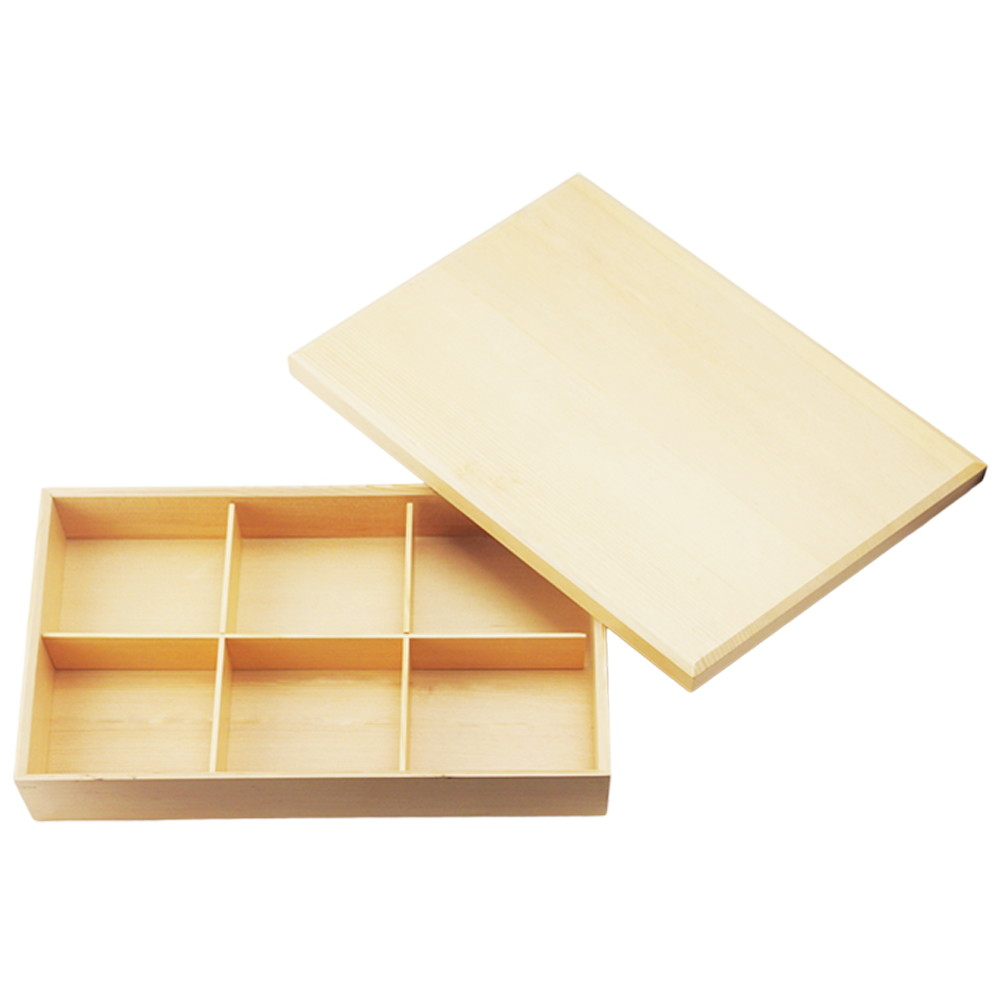 六つ仕切り 箱(木製) 蓋付 [ (身)37.3 x 25.3 x H6cm 800g ] 【 松花堂 】 【 飲食店 料亭 旅館 和食器 業務用 】
