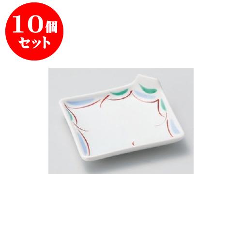 10個セット 松花堂 赤絵すだれ角折皿 [10.7 x 10.7 x 3cm] 強化【旅館 料亭 飲食店 和食 業務用】
