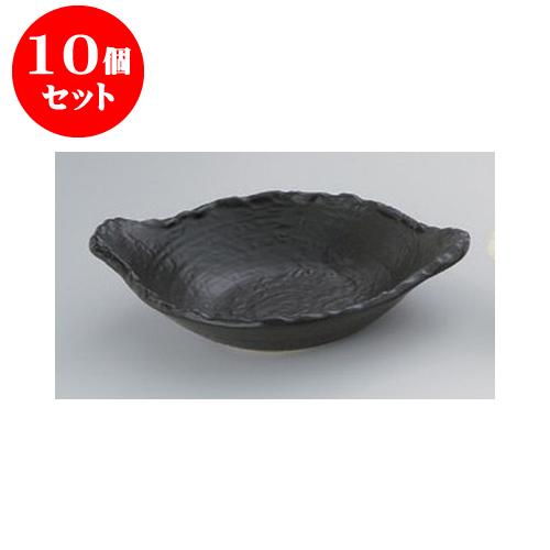 10個セット 耐熱食器 黒22cm変形浅鍋 [28 x 22 x 6.8cm] 直火 【料亭 旅館 和食器 飲食店 業務用】