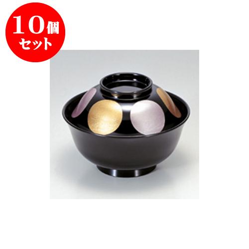 10個セット 小吸碗 [TM]4寸羽反吸椀 黒金雅日月 [11.9 x 8.5cm] 【料亭 旅館 和食器 飲食店 業務用】
