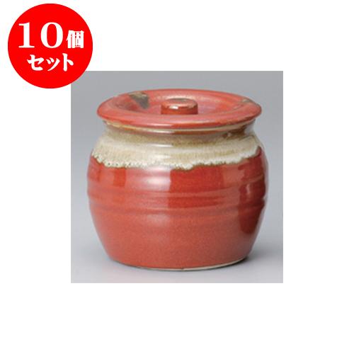 10個セット 蓋物 赤白流し5号蓋物 [13.7 x 12.3cm 1200cc] 【料亭 旅館 和食器 飲食店 業務用】