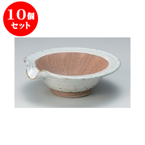10個セット すり鉢 粉引花型4.5すり小鉢 [14.5 x 14 x 4.8cm] 土物 【料亭 カフェ 和食器 飲食店 業務用】