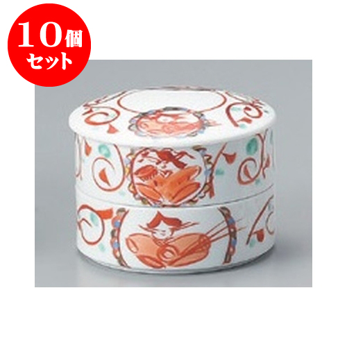 10個セット 卓上小物 手描雅2段重(M) [11.5 x 8.5cm] 【旅館 料亭 和食器 飲食店 業務用】
