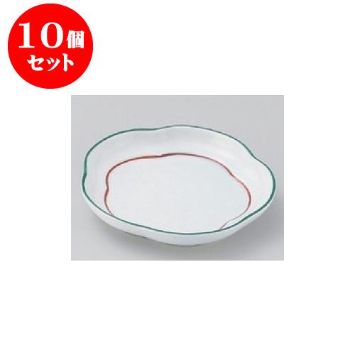 10個セット 松花堂 緑彩花丸皿 [11.5 x 2cm] 【料亭 旅館 和食器 飲食店 業務用】