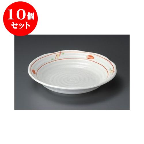 10個セット めん皿 赤絵平安7.0深皿 [22 x 4cm] 【料亭 旅館 和食器 飲食店 業務用】