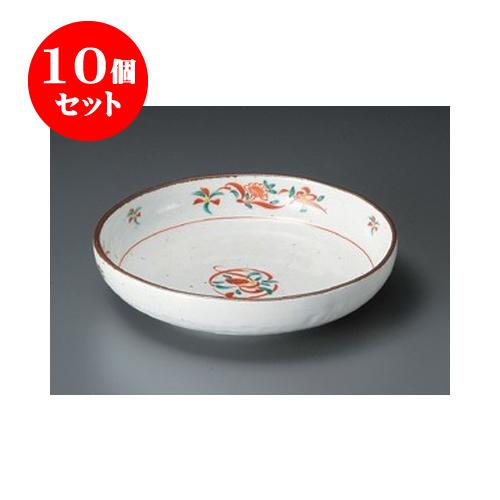 10個セット めん皿 赤絵花7.0浅鉢 [21 x 4.7cm] 【料亭 旅館 和食器 飲食店 業務用】