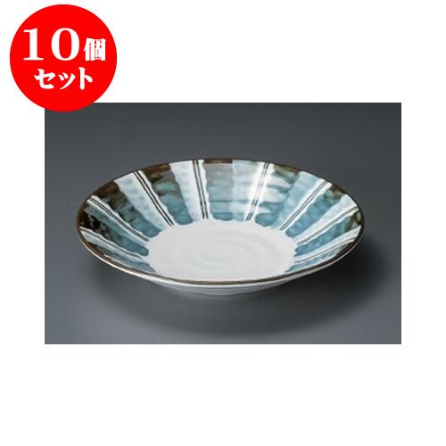 10個セット めん皿 藍染十草リップル7.5皿 [23.7 x 4.4cm] 【料亭 旅館 和食器 飲食店 業務用】