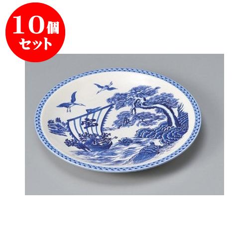 10個セット 萬古焼大皿 宝船丸皿12号 [37 x 4cm] 【料亭 旅館 和食器 飲食店 業務用】