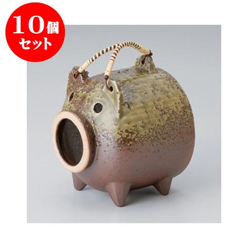 10個セット 蚊取り器 灰釉豚(萬古焼) [15 x 15 x 17cm] 【料亭 旅館 和食器 飲食店 業務用】