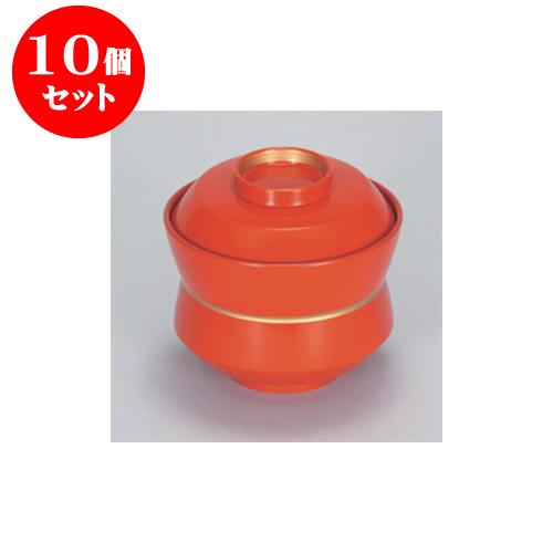 10個セット 飯器・丼 朱 金帯 杵型椀 [10.3 x 9.5cm] 耐熱 木合・耐熱 【料亭 旅館 和食器 飲食店 業務用】