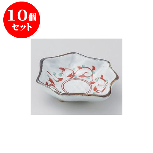 10個セット 松花堂 赤絵唐草八つ手型鉢 [12.8 x 11.2 x 3.5cm] 【料亭 旅館 和食器 飲食店 業務用】