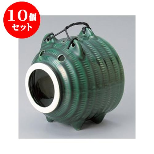 10個セット 茶香炉・蚊取り器 オリベ豚(萬古焼) [13.5 x 13.5 x 16.5cm] 【料亭 旅館 和食器 飲食店 業務用】