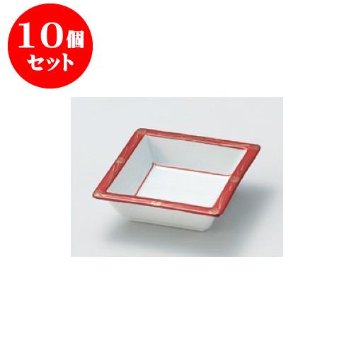 10個セット 松花堂 赤絵二色金彩角鉢(赤) [11.4 x 11.4 x 3.6cm] 【料亭 旅館 和食器 飲食店 業務用】