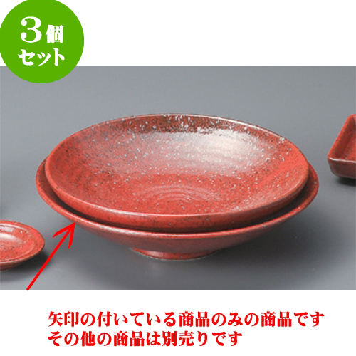 3個セット そば用品 紅柚子8.0麺皿 [25 x 6cm] 【料亭 旅館 和食器 飲食店 業務用】