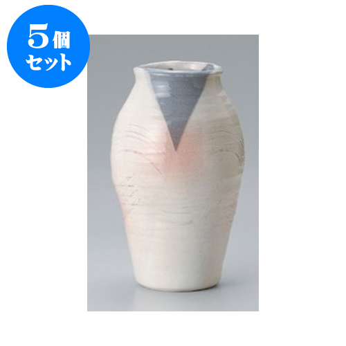 5個セット 美濃焼花瓶 白灰手造9号花瓶 [16 x 27cm]   花瓶 花器 花立 インテリア かびん 花道 業務用 飲食店 カフェ うつわ 器 おしゃれ かわいい ギフト プレゼント 引き出物 誕生日 贈り物 贈答品