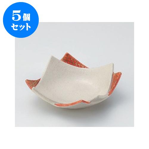 5個セット 松花堂 赤絵重ね型皿(小) [11 x 11 x 3.6cm] 土物 【和食器 料亭 旅館 飲食店 業務用】
