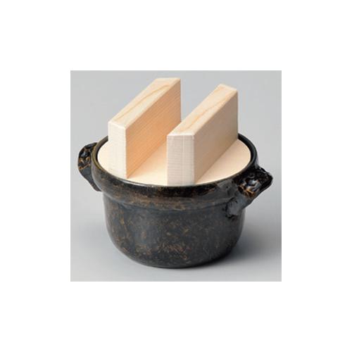 アルミ製品 3合炊ごはん鍋(黒アメ釉)フッ素・白木蓋 [22 x 27.5 x 19cm] 直火 【料亭 旅館 和食器 飲食店 業務用】