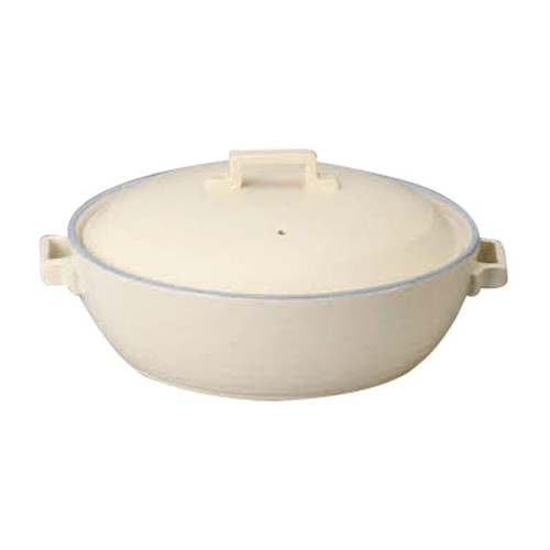 オフホワイト9号キャセロール [ 28.5cm 3000cc ] 【 萬古焼鍋 】 | 和食器 飲食店 業務用 自宅用