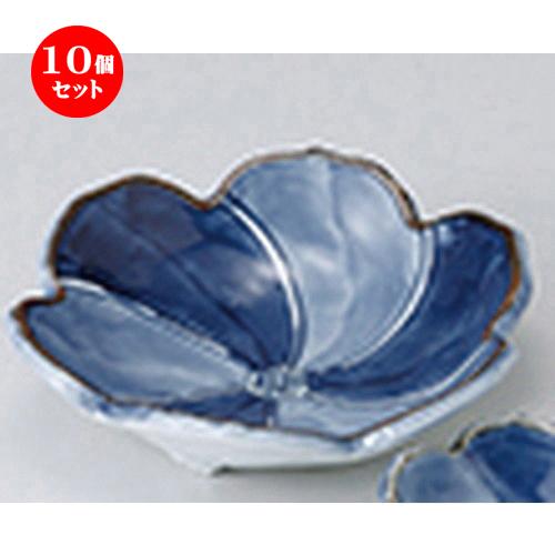 10個セット ☆ 刺身 ☆ 染付花型刺身鉢 [ 15.8 x 4.3cm ] 【 料亭 旅館 和食器 飲食店 業務用 】