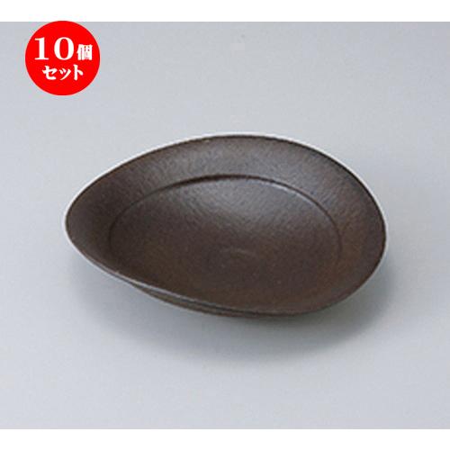 10個セット ☆ 向付 ☆ 黒陶楕円和皿 [ 19.0 x 17.5 x 4.5cm ] 【 料亭 旅館 和食器 飲食店 業務用 】
