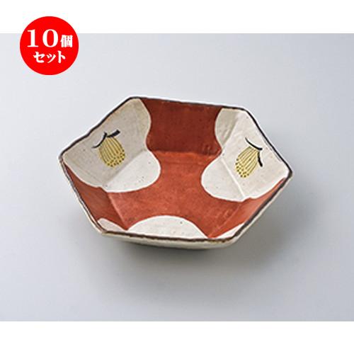10個セット ☆ 向付 ☆ 赤濃椿 六角鉢 [ 18.8 x 16.7 x 4cm ] 【 料亭 旅館 和食器 飲食店 業務用 】