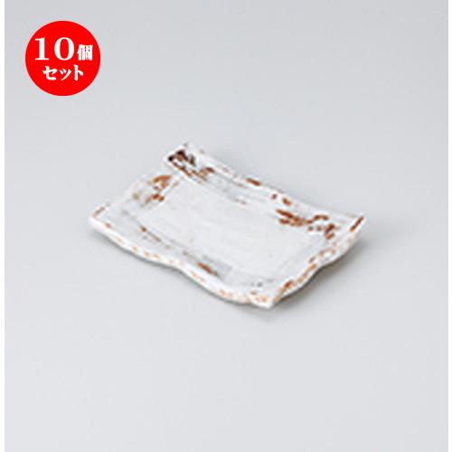 10個セット☆ 焼物皿 ☆ねずみ志野6.0四ツ足皿 [ 17 x 11.5 x 2.5cm ] 【 料亭 旅館 和食器 飲食店 業務用 】