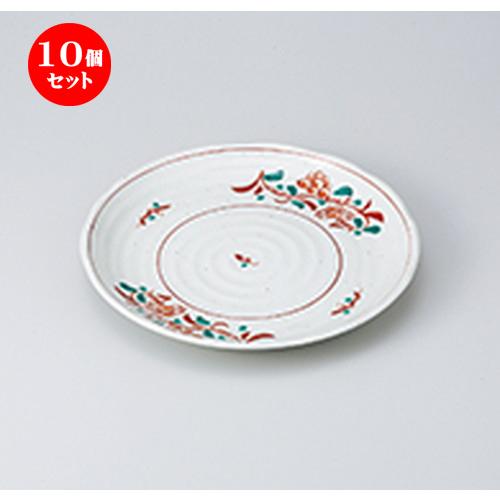 10個セット☆ 和皿 ☆ 粉引花万暦8.0皿 [ 24.5 x 3cm ] 【 料亭 旅館 和食器 飲食店 業務用 】
