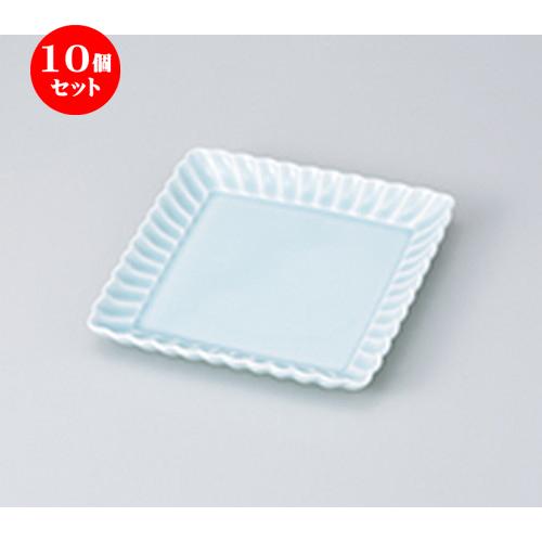10個セット☆ 和皿 ☆ 菊割 青白 15.5cm正角皿 [ 15.7 x 2.2cm ] 【 料亭 旅館 和食器 飲食店 業務用 】