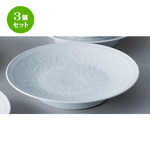 3個セット☆ 和陶オープン ☆ 白磁唐草 12.0高浜皿 [ 37.5 x 6.8cm ] 【 料亭 旅館 和食器 飲食店 業務用 】