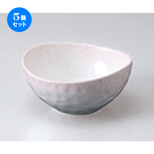 5個セット☆ 小鉢 ☆ ピンク吹楕円小鉢 [ 10.8 x 10.6 x 5.3cm ] 【 料亭 旅館 和食器 飲食店 業務用 】