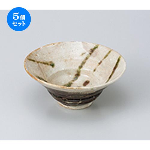 5個セット☆ 向付 ☆ 粉引緑彩リム鉢 [ 15.5 x 6.7cm ] 【 料亭 旅館 和食器 飲食店 業務用 】