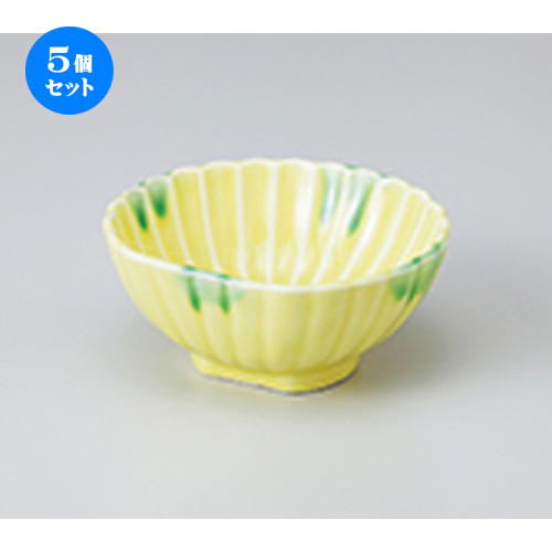 5個セット☆ 小鉢 ☆ 黄釉グリーン流半月菊型小鉢 [ 11.3 x 10.4 x 5cm ] 【 料亭 旅館 和食器 飲食店 業務用 】