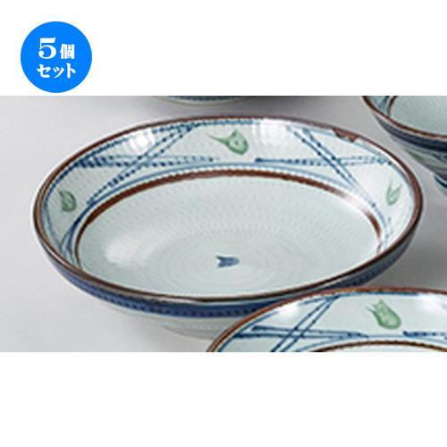 5個セット☆ 和陶オープン ☆ 飛びかんな格子 7.5麺皿 [ 23.5 x 6.2cm ] 【 料亭 旅館 和食器 飲食店 業務用 】