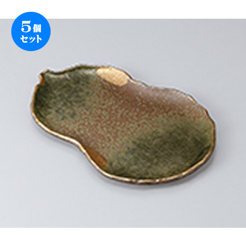 5個セット☆ 焼物皿 ☆金彩吹織部瓢型9.0焼物皿 [ 24.5 x 13.2 x 1.4cm ] 【 料亭 旅館 和食器 飲食店 業務用 】
