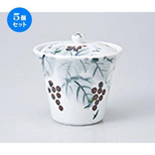 5個セット 蒸碗 / 白志野ぶどう蓋物 [ 9.5 x 9.2cm ] | 茶碗蒸し ちゃわんむし 蒸し器 寿司屋 碗 むし碗 食器 業務用 飲食店 おしゃれ かわいい ギフト プレゼント 引き出物 誕生日 贈り物 贈答品