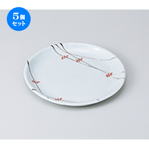 5個セット☆ 和皿 ☆ 花ちらし丸7.0皿 [ 21.4 x 2cm ] 【 料亭 旅館 和食器 飲食店 業務用 】