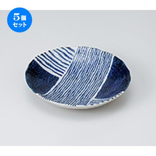 5個セット☆ 和皿 ☆ ゴス染ストライプ6.0多用皿 [ 18.5 x 3.6cm ] 【 料亭 旅館 和食器 飲食店 業務用 】