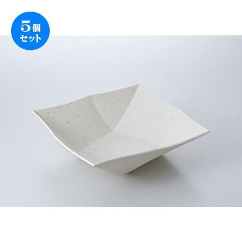 5個セット☆ 盛込鉢 ☆ 粉引オリメ角鉢(大) [ 24.2 x 24.2 x 7cm ] 【 料亭 旅館 和食器 飲食店 業務用 】