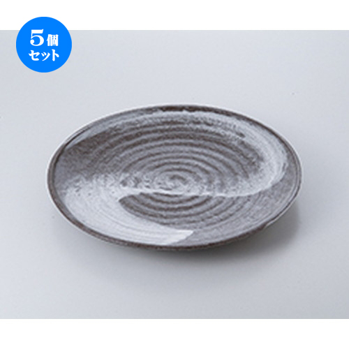 5個セット☆ 萬古焼盛込皿 ☆ 白刷毛目9.0丸皿 [ 27.5cm ] 【 料亭 旅館 和食器 飲食店 業務用 】