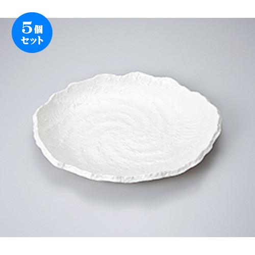 5個セット☆ 萬古焼盛込皿 ☆ 白釉10.0小判盛皿 [ 30.5 x 26.5 x 3cm ] 【 料亭 旅館 和食器 飲食店 業務用 】
