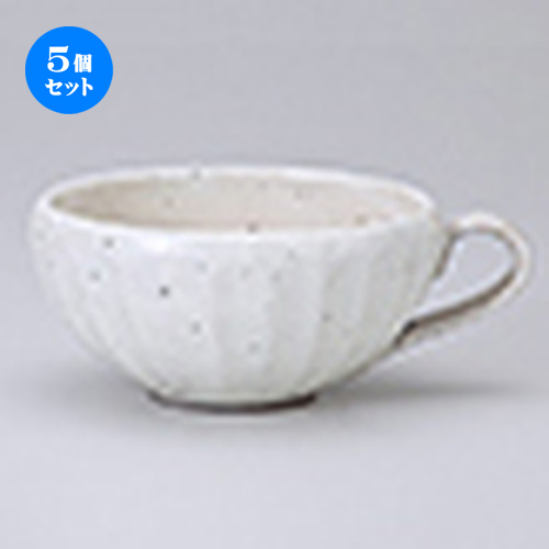 5個セット☆ マグ ☆ 粉引面取りスープカップ [ 12.5 x 15 x 7cm ・ 400cc ] 【 レストラン ホテル カフェ 洋食器 飲食店 業務用 】
