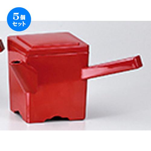 5個セット☆ 越前漆器 ☆ 角湯筒 朱 [ 220 x 108 x h 127mm ] 【 料亭 旅館 麺 和食器 飲食店 業務用 】