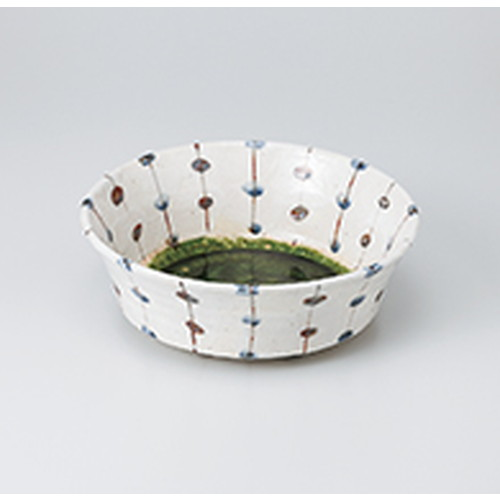 多用鉢 織部すだれ ラッパ鉢 [ 22.5 x 8cm ] | 中鉢 盛鉢 取り鉢 ボウル 中 おすすめ 人気 食器 業務用 飲食店 カフェ うつわ 器 おしゃれ かわいい お洒落 ギフト プレゼント 引き出物 内祝い 結婚祝い 誕生日 贈り物 贈答品