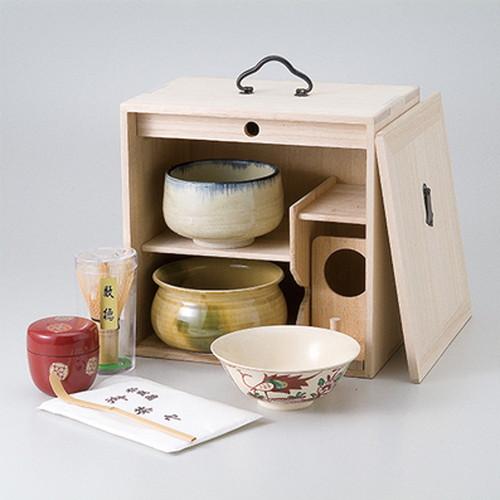 茶道具 茶道具(茶箱)桐色紙箱揃 [ 25.6 x 17.5 x 25.6cm ] 【 茶道具 抹茶 茶道 茶器 】