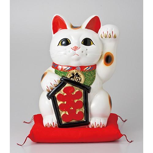 常滑焼招き猫 大入白猫8号(左手)座ぶとん付 [ 18 x 16 x 25cm ]   招き猫 ねこ cat 縁起物 お土産 かわいい おしゃれ 飾り 玄関飾り 開運 商売繁盛 家内安全 お守り まねきねこ プレゼント ギフト 贈り物 開店祝い