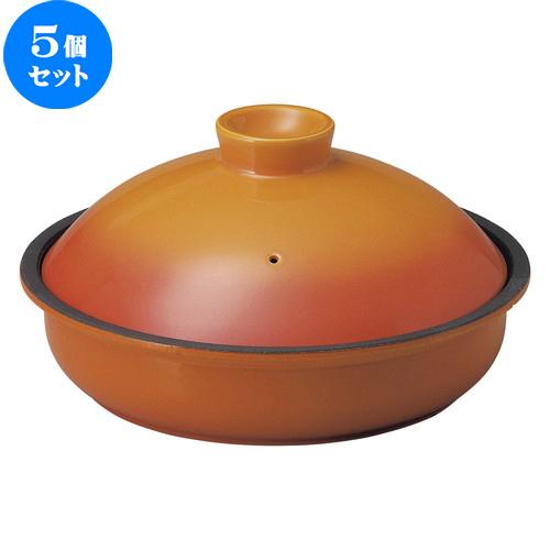 5個セット☆ 鉄製鍋 ☆ 22.5cm 鉄鍋 ベイクオレンジ [ D 22.5 x H 12.4cm ] 【 飲食店 レストラン ホテル カフェ 洋食器 業務用 】
