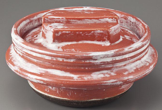 土鍋 料亭かまど3合炊き 赤楽 [28 x 14 3合炊きcm] 日本製 素材:陶器 【料亭 旅館 和食器 飲食店 業務用】
